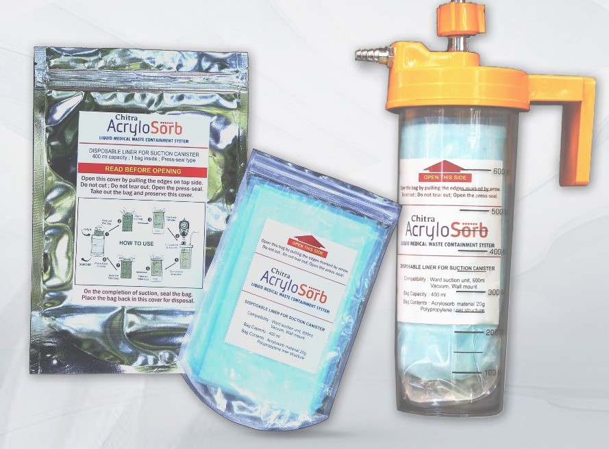 Canister bag that solidifies infectious secretions like Covid-19