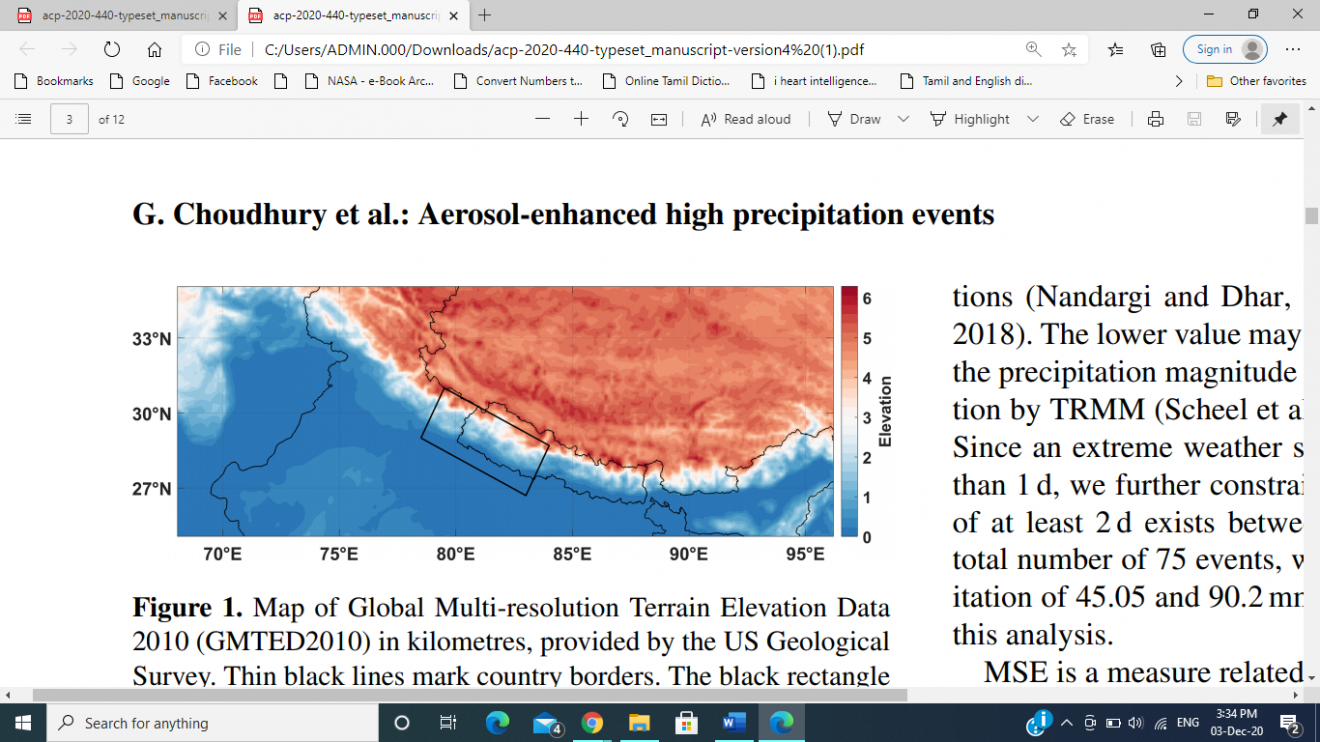 Aerosols in Indo-Gangetic Plain have led to increased incidents of  high rainfall in the Himalayan foothills