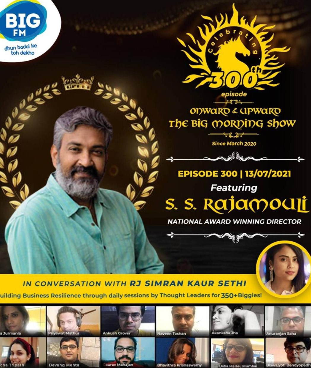 BIG FM's 'Onward & Upward - The BIG Morning Show' reaches the landmark of 300 episodes celebrates with ace filmmaker S.S. Rajamouli as guest speaker!